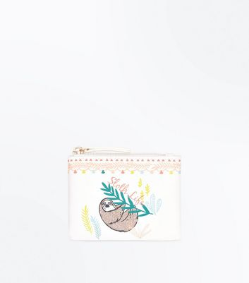 White Sloth Life Slogan Coin Purse New Look