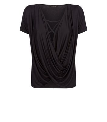 Black Wrap Front Cross Strap T-Shirt New Look