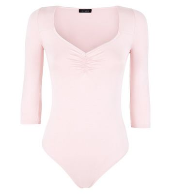 Pink Sweetheart Neck Ruched Front Bodysuit New Look