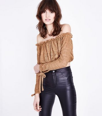 Camel Lace Knit Bardot Crop Top New Look