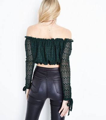 Dark Green Lace Knit Bardot Crop Top New Look
