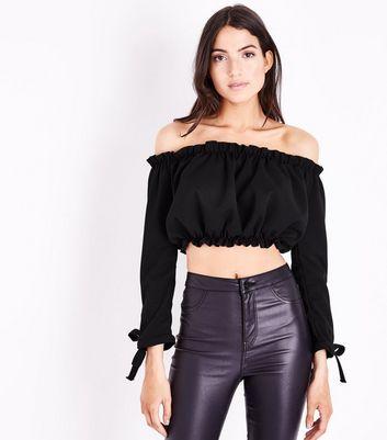 Black Gathered Bardot Tie Sleeve Crop Top New Look