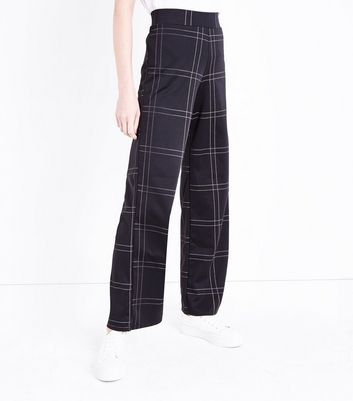 Innocence Black Check Wide Leg Trousers New Look