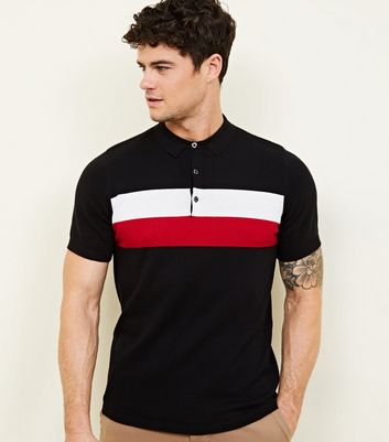Red Block Stripe Knitted Polo Shirt