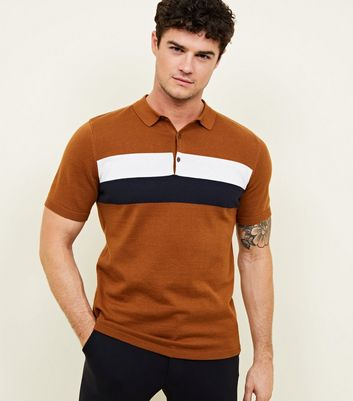 Rust Block Stripe Knitted Polo Shirt