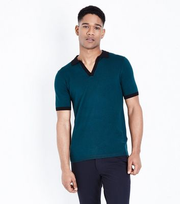 Teal White Revere Collar Knitted Polo Shirt