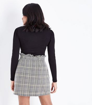 Petite Black Check Paperbag Waist Mini Skirt New Look