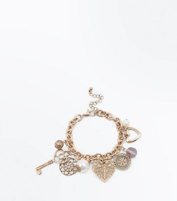 Gold Key and Charm Bracelet New Look