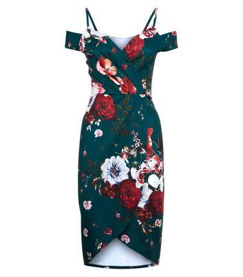 Blue Vanilla Green Floral Print Cold Shoulder Dress New Look