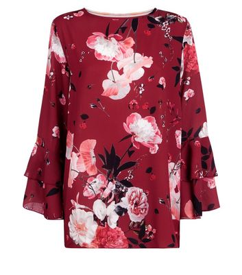 Blue Vanilla Red Floral Print Chiffon Top New Look