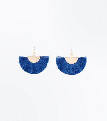 Blue Metal Top Fan Tassel Earrings New Look
