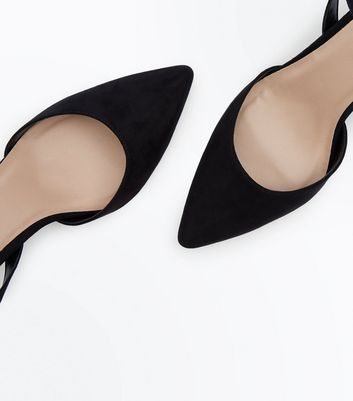 Black Suedette Ankle Strap Pointed Courts New Look