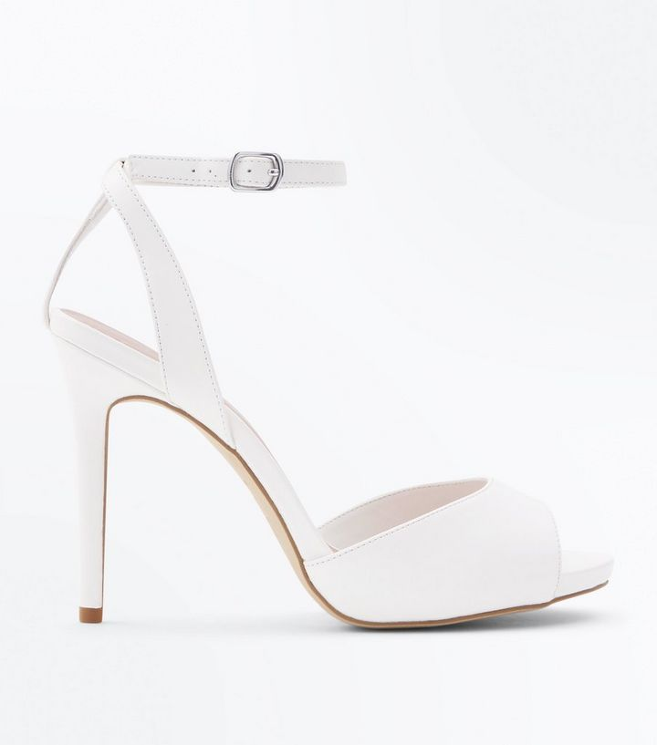 cca9dae44039 Wide Fit White Peep Toe Stiletto Sandals