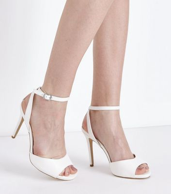 Wide Fit White Peep Toe Stiletto Sandals New Look