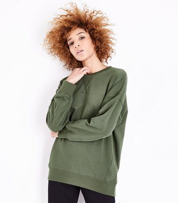 Tall Khaki Balloon Sleeve Longline Sweatshirt New Look