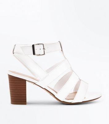 Teens White Gladiator Block Heeled Sandals New Look