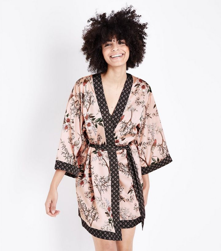 Selina Mid Pink Floral Satin Robe New Look