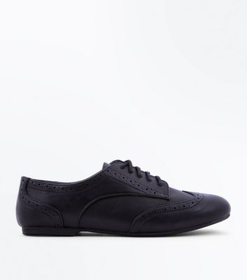 Girls Black Lace Up Brogues