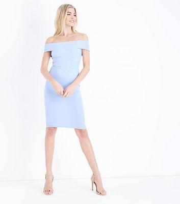 Pale Blue Bardot Neck Scuba Midi Dress New Look