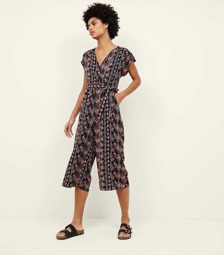 47e8c8c0b6e1 Black Floral Wrap Front Culotte Jumpsuit