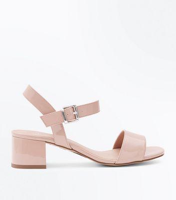 Girls Nude Patent Block Heel Sandals