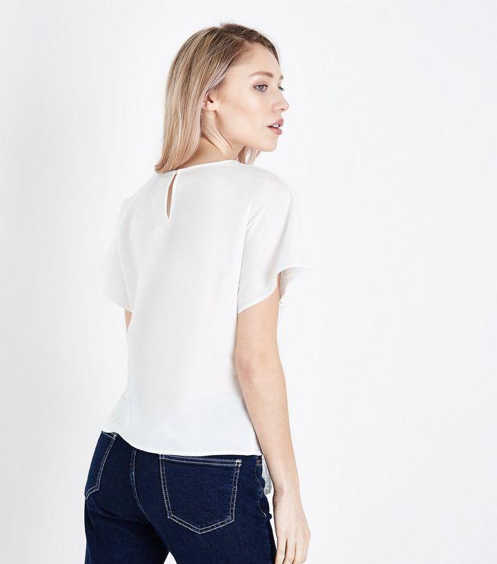 c4df7f9b54ea Petite White Broderie Tie Front T-Shirt