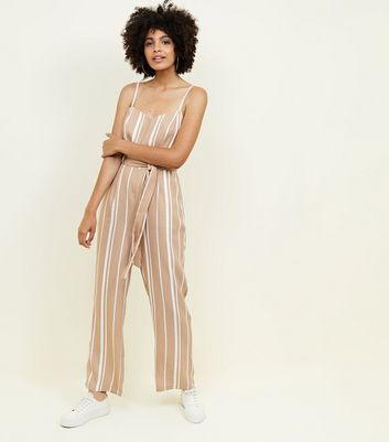 Camel Stripe Cut Out Jumpsuit