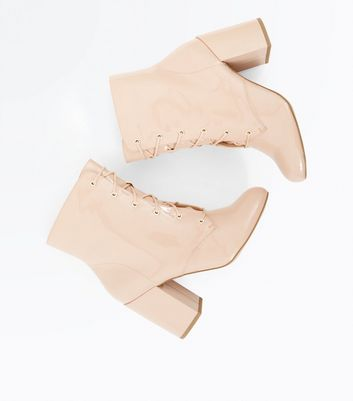 Nude Patent Lace Up Heeled Boots New Look