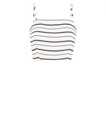 White Stripe Crop Top New Look