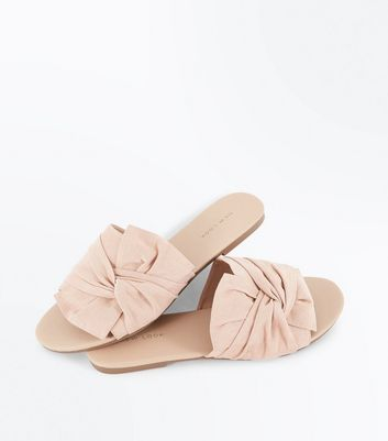 Nude Suedette Bow Knot Sliders New Look