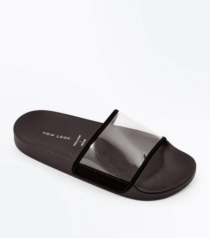 c628a93f409ac Black Clear Strap Sliders