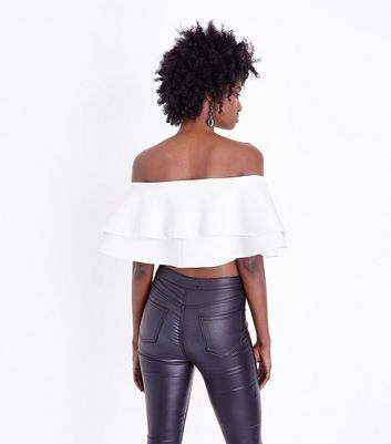 White Frill Tiered Bardot Crop Top New Look