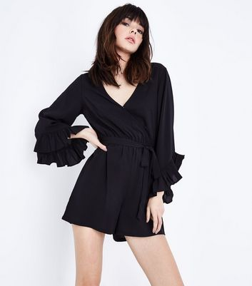 Black Frill Sleeve Wrap Playsuit