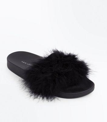e5995d5842859 Black Feather Strap Sliders