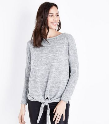 Pale Grey Fine Knit Tie Front Batwing Sleeve Top New Look