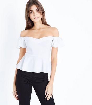 White Bardot Neck Puff Sleeve Peplum Top New Look
