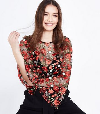 Cameo Rose Black Floral Embroidered Mesh Crop Top New Look