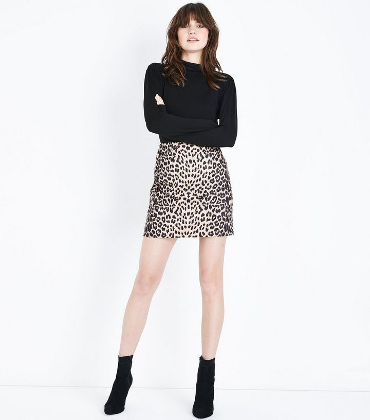 aab3632a6995 Cameo Rose Brown Leopard Print Mini Skirt | New Look