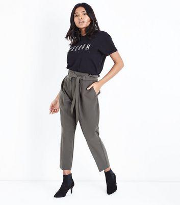 Petite Black Paperbag Waist Trousers New Look