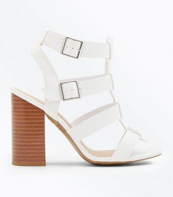 White Wooden Block Heel Gladiator Sandals