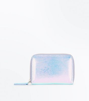 Purple Iridescent Zip Around Card Holder