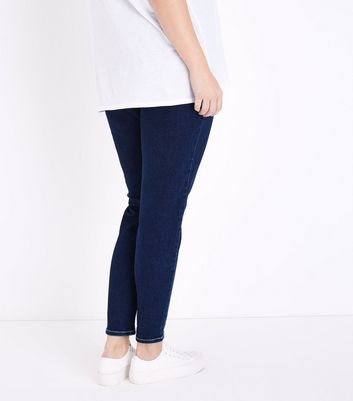Curves Navy Contrast Stitch Skinny Jeans New Look