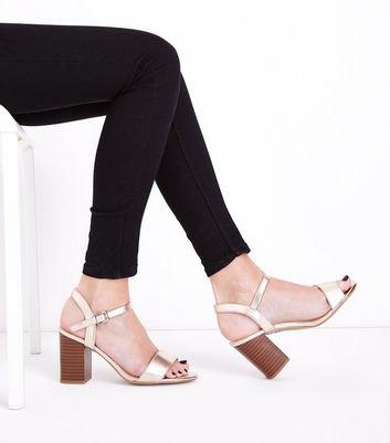 Wide Fit Rose Gold Wooden Block Heel Sandals New Look