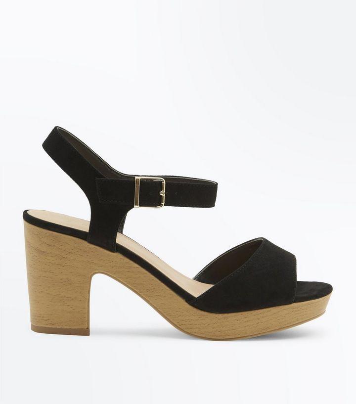 af4b6959e32d Wide Fit Black Suedette Wooden Platform Sandals