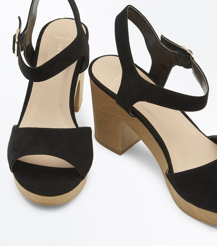 5d1cc8425f0 ... Wide Fit Black Suedette Wooden Platform Sandals. ×. ×. ×. Shop the look