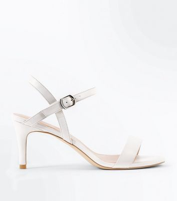 White Mid Heel Ankle Strap Sandals