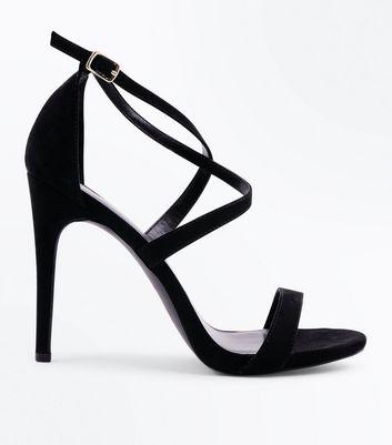 Black Suedette Strappy Stiletto Heel Sandals New Look