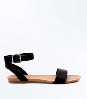03c3c0b54ca Black Ankle Strap Flat Sandals Add to Saved Items Remove from Saved Items