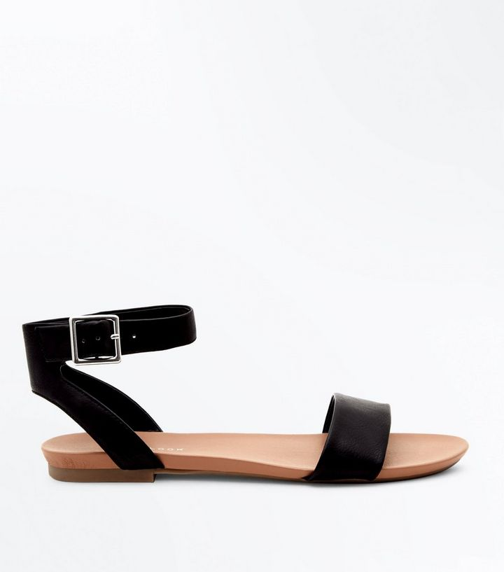 Black Ankle Strap Flat Sandals