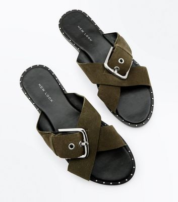 Khaki Suede Cross Strap Studded Sliders New Look